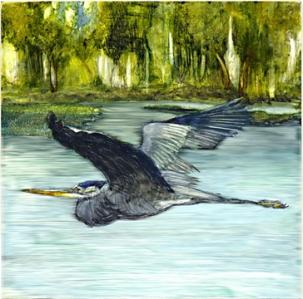 Edgar, the GBH on Phantom Lake, 2009 (watercolor on clayboard)