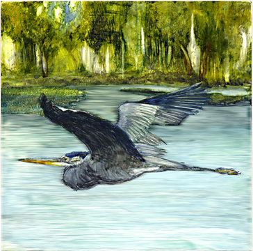 Edgar, the GBH on Phantom Lake, 2009 (watercolor on clayboard)